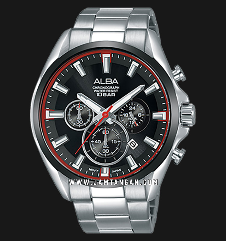 Alba AT3E55X1 Chronograph Men Black Dial Stainless Steel Strap Machtwatch
