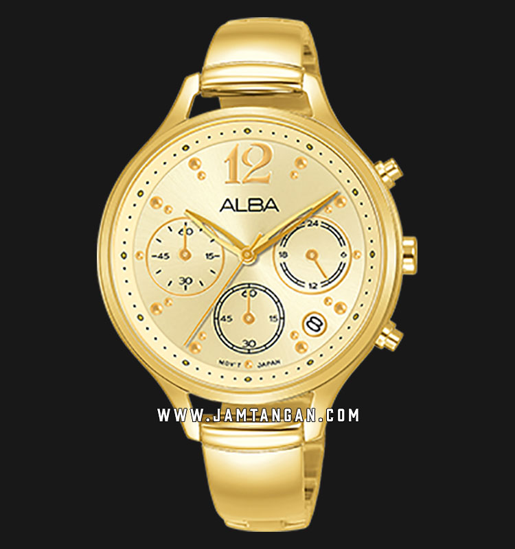 Alba AT3E98X1 Light Gold Dial Gold Stainless Steel Machtwatch