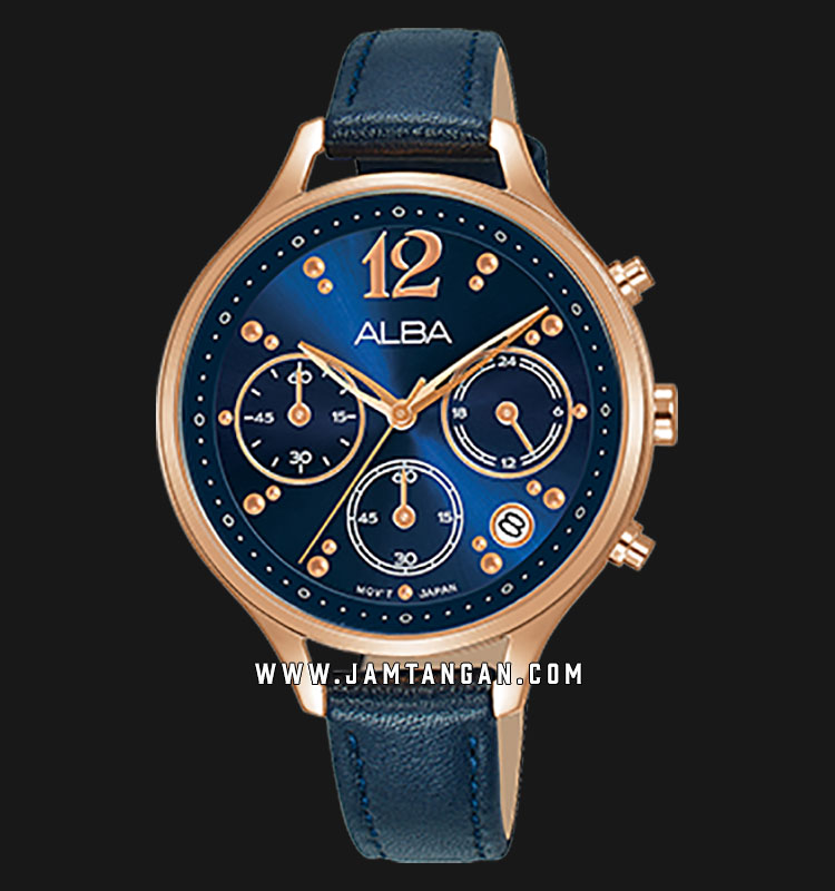 Alba AT3F08X1 Blue Dial Black Leather Strap Machtwatch