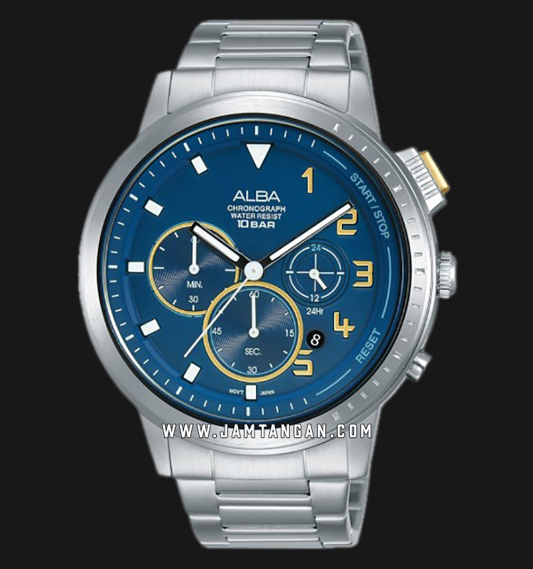 Alba AT3F33X1 Chronograph Men Blue Dial Stainless Steel Strap Machtwatch