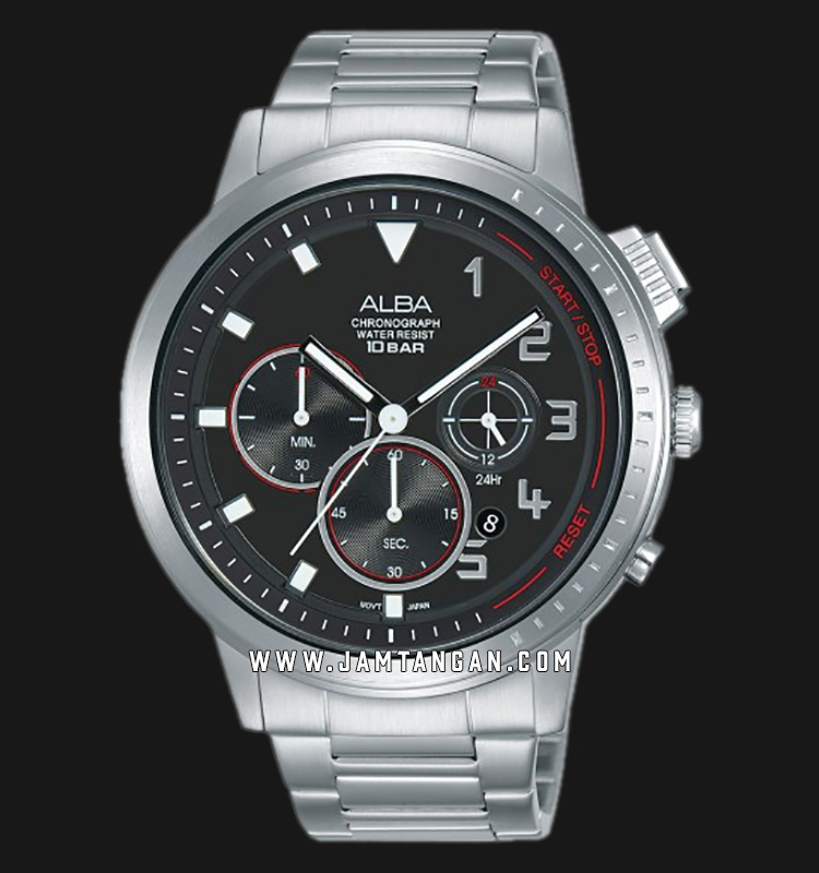 Alba AT3F35X1 Chronograph Men Black Dial Stainless Steel Strap Machtwatch