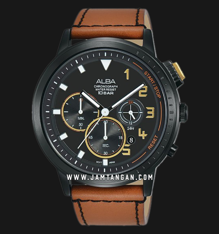 Alba AT3F39X1 Chronograph Men Black Dial Brown Leather Strap Machtwatch