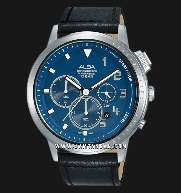 Alba AT3F41X1 Chronograph Men Blue Dial Black Leather Strap Machtwatch