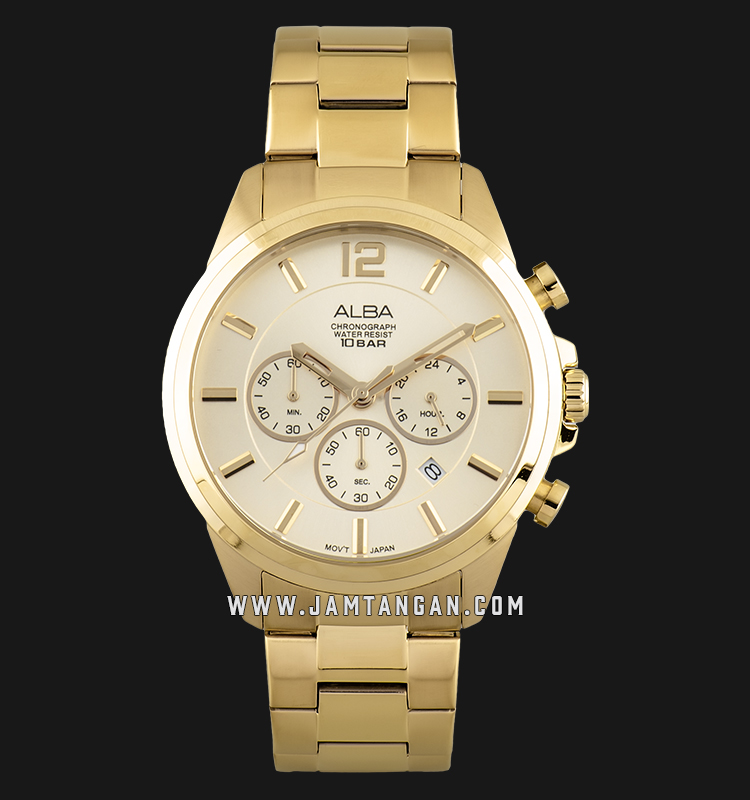 Alba AT3G08X1 Chronograph Men Silver Dial Gold Stainless Steel Strap Machtwatch