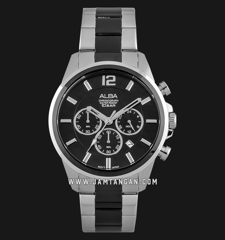 Alba AT3G09X1 Chronograph Men Black Dial Dual Tone Stainless Steel Strap Machtwatch