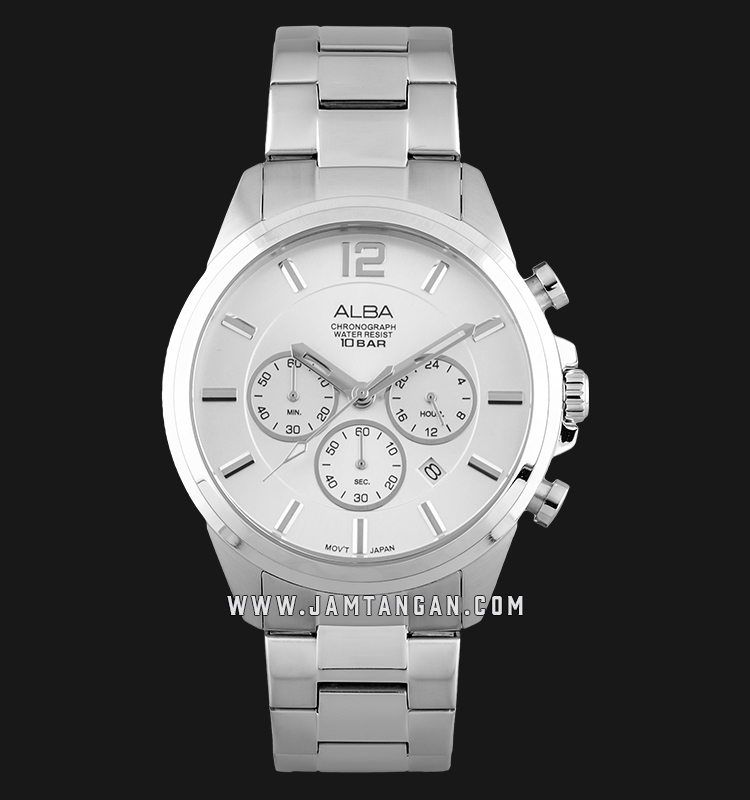 Alba AT3G11X1 Chronograph Men Silver Dial Stainless Steel Strap Machtwatch