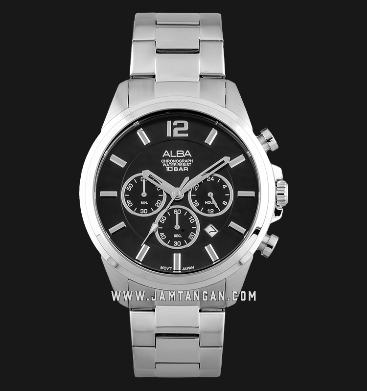 Alba AT3G13X1 Chronograph Men Black Dial Stainless Steel Strap Machtwatch