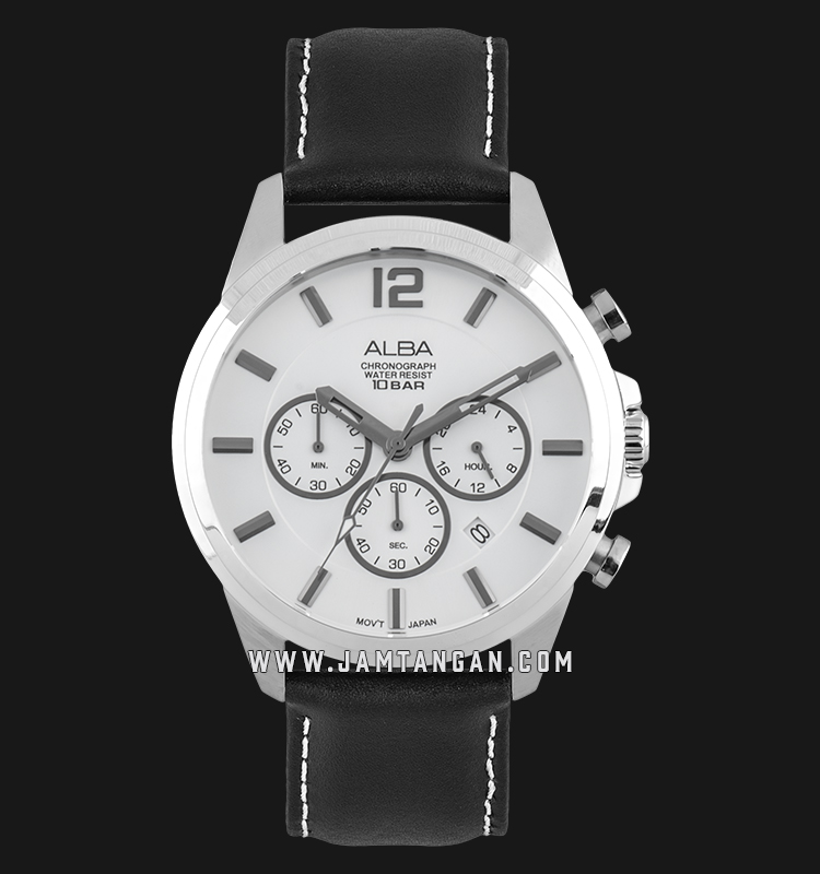 Alba AT3G17X1 Chronograph Men Silver Dial Black Leather Strap Machtwatch