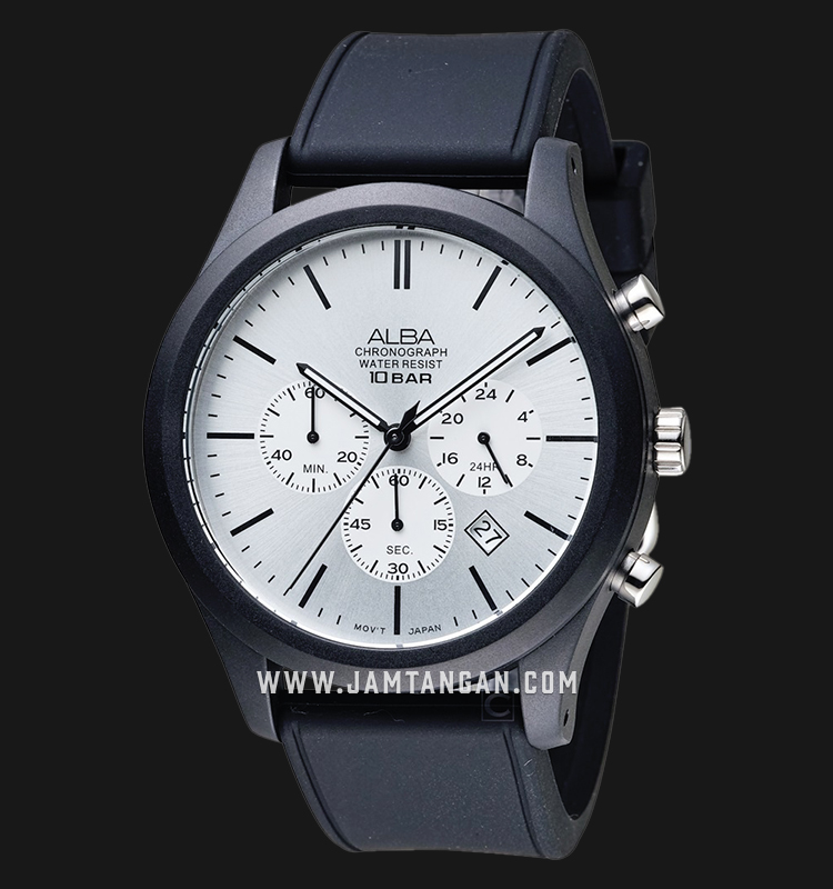 Alba AT3G23X1 Chronograph Men Silver Dial Black Rubber Strap Machtwatch