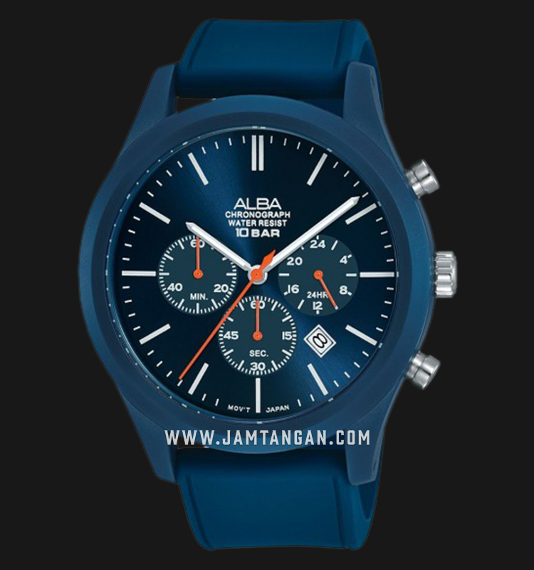 Alba AT3G25X1 Chronograph Men Blue Dial Blue Rubber Strap Machtwatch