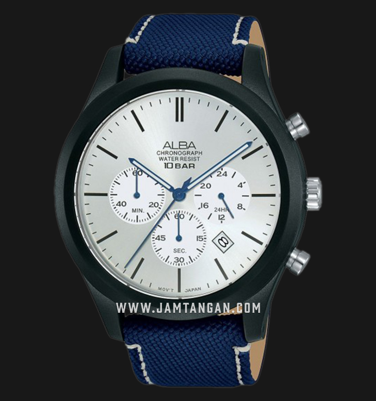 Alba AT3G31X1 Chronograph Men Silver Dial Blue Nylon Strap Machtwatch