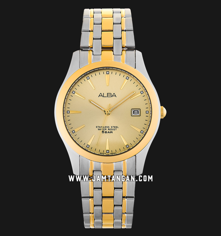 Alba AXHK90X1 Gold Dial Dual Tone Stainless Steel Machtwatch