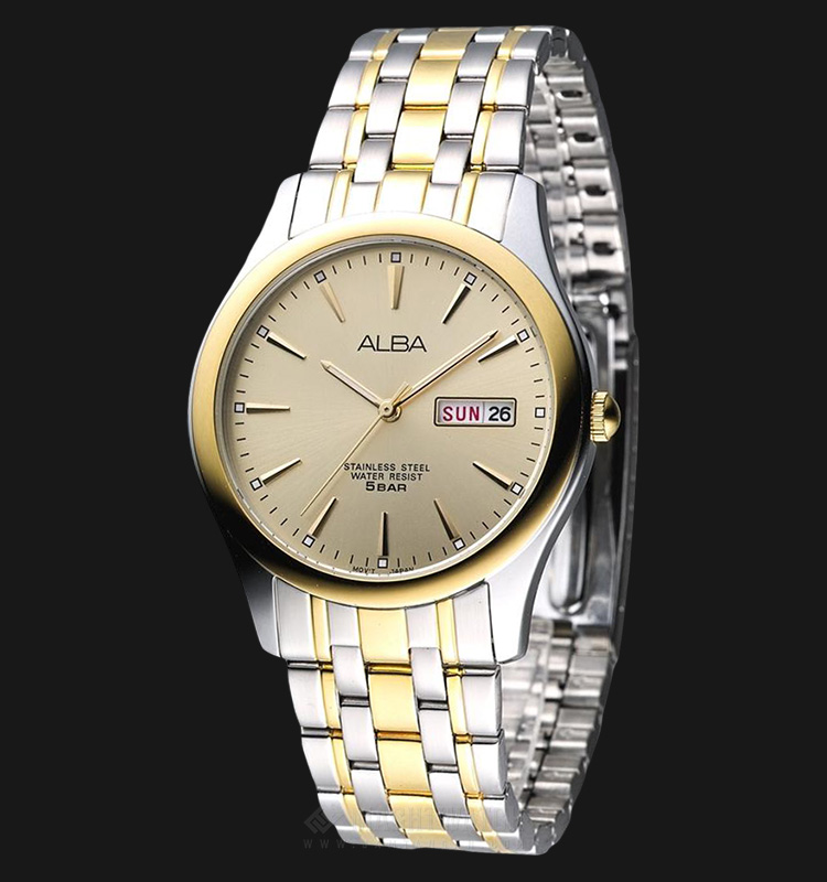 Alba AXND48X1 Men Light Taupe Dial Dual Tone Stainless Steel Strap Machtwatch