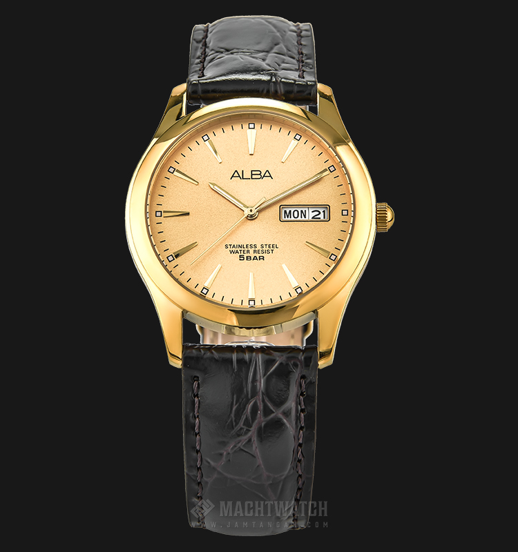 Alba AXND62X1 Men Gold Dial Gold Case Black Leather Strap Machtwatch