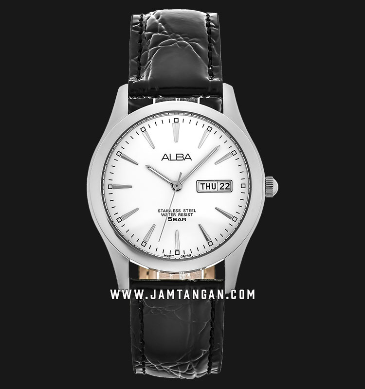 Alba AXND63X1 Men White Dial Black Leather Strap Machtwatch