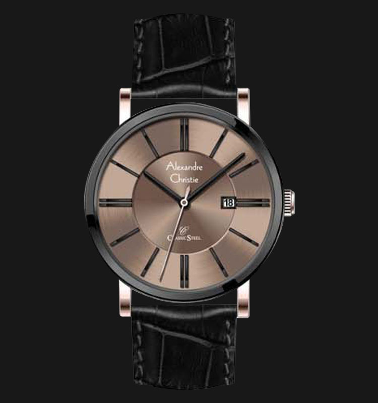 Alexandre Christie AC 8344 MDLBRBO Gold Dial Leather Strap Machtwatch