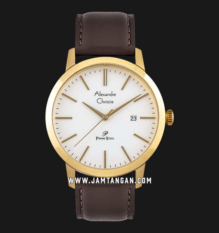 Alexandre Christie AC 1007 MD LGPSL White Dial Brown Leather Strap Machtwatch