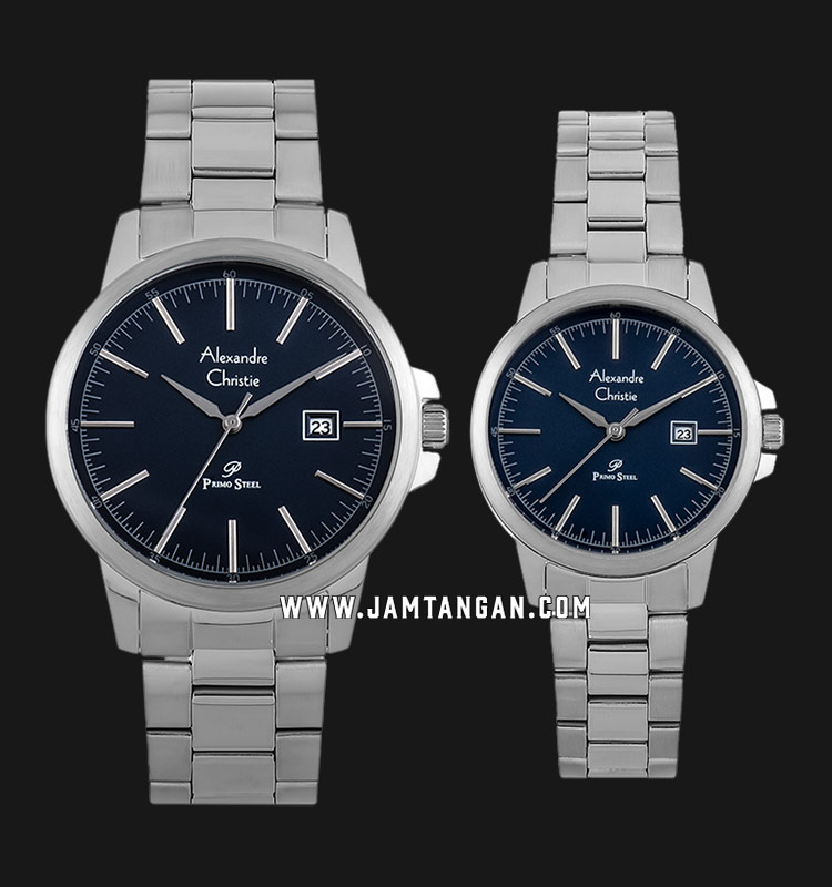 Alexandre Christie AC 1008 BSSBU Couple Blue Dial Stainless Steel Strap Machtwatch