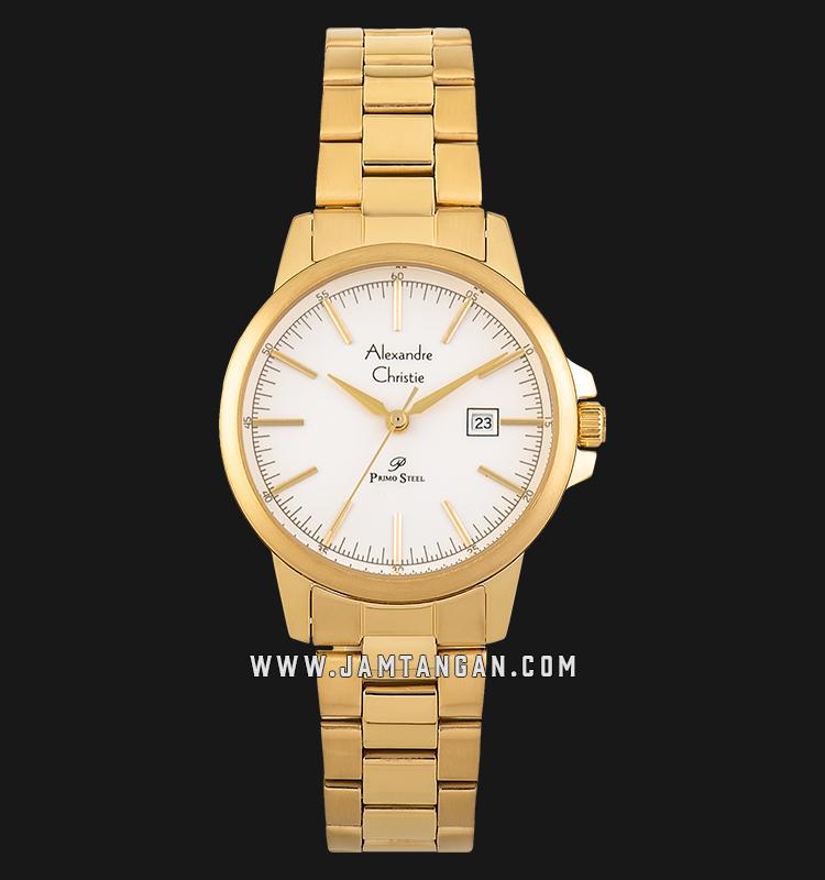 Alexandre Christie AC 1008 LD BGPSL Ladies Silver Dial Gold Stainless Steel Strap Machtwatch