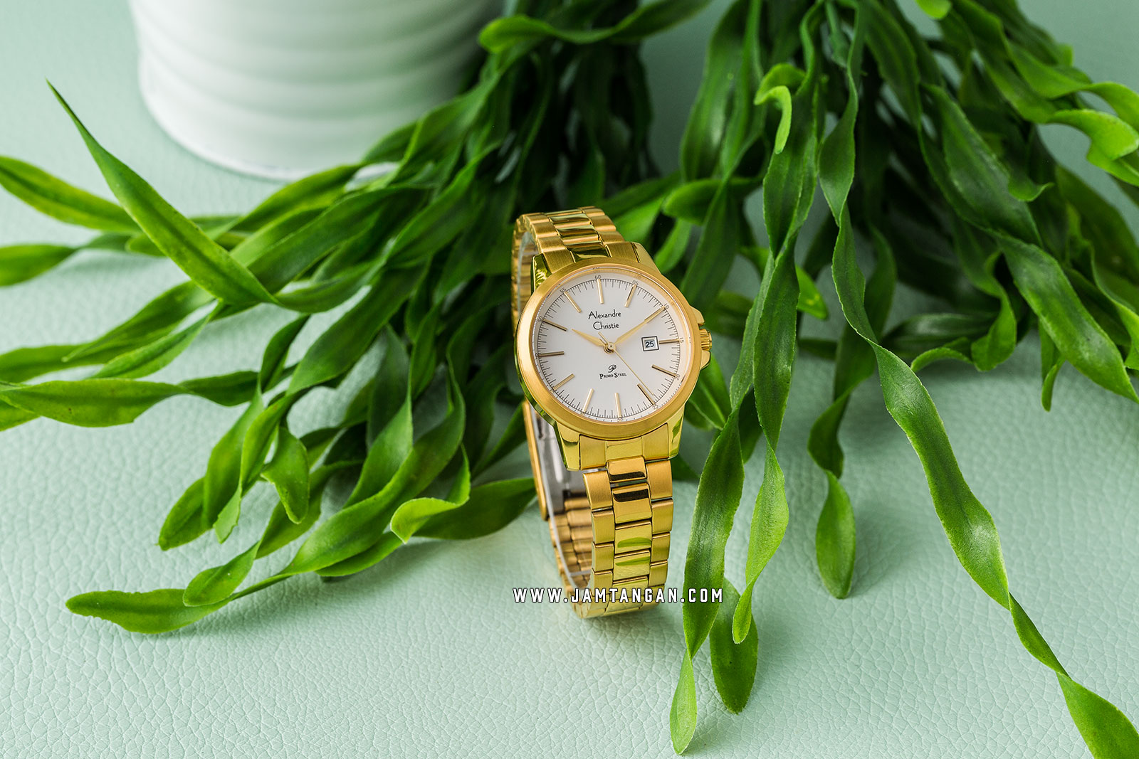 Alexandre Christie AC 1008 LD BGPSL Ladies Silver Dial Gold Stainless Steel Strap Machtwatch