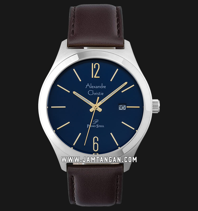 Alexandre Christie AC 1009 MD LSSBU Blue Dial Brown Leather Strap Machtwatch