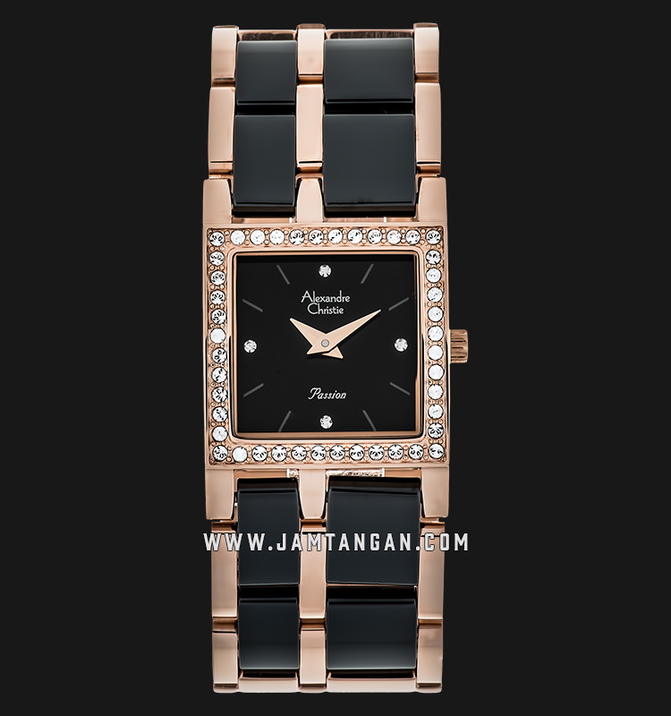 Alexandre Christie AC 2314 LH BRGBA Ladies Black Dial Dual Tone Stainless Steel With Ceramic Strap Machtwatch