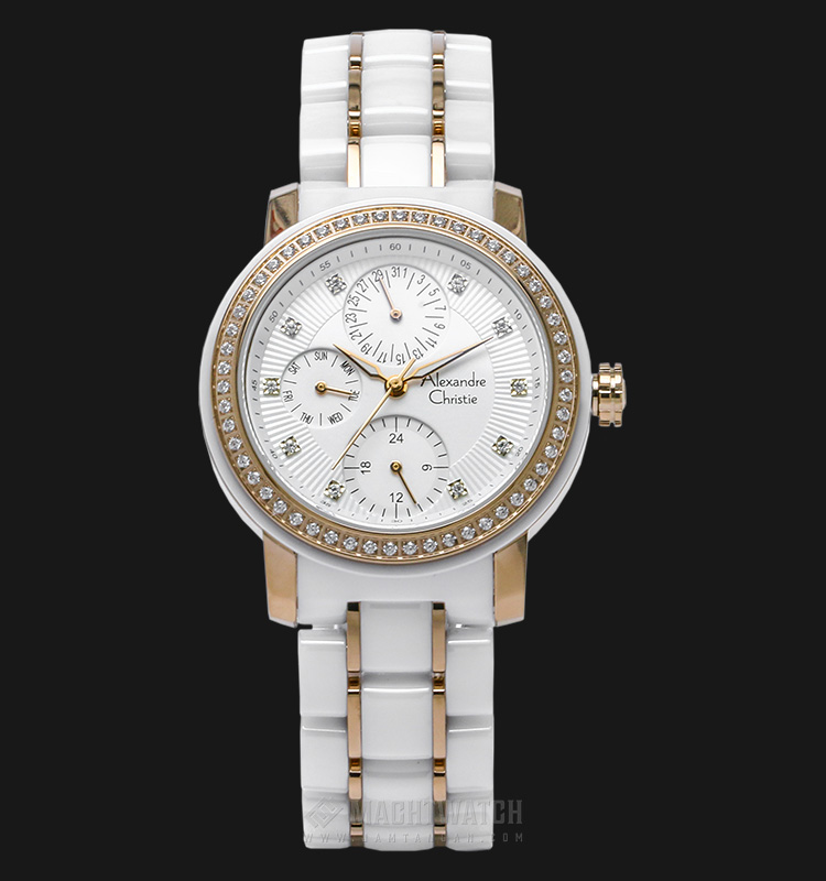 Alexandre Christie AC 2360 BF BCGSL Ladies White Dial Dual Tone Ceramic Strap Machtwatch