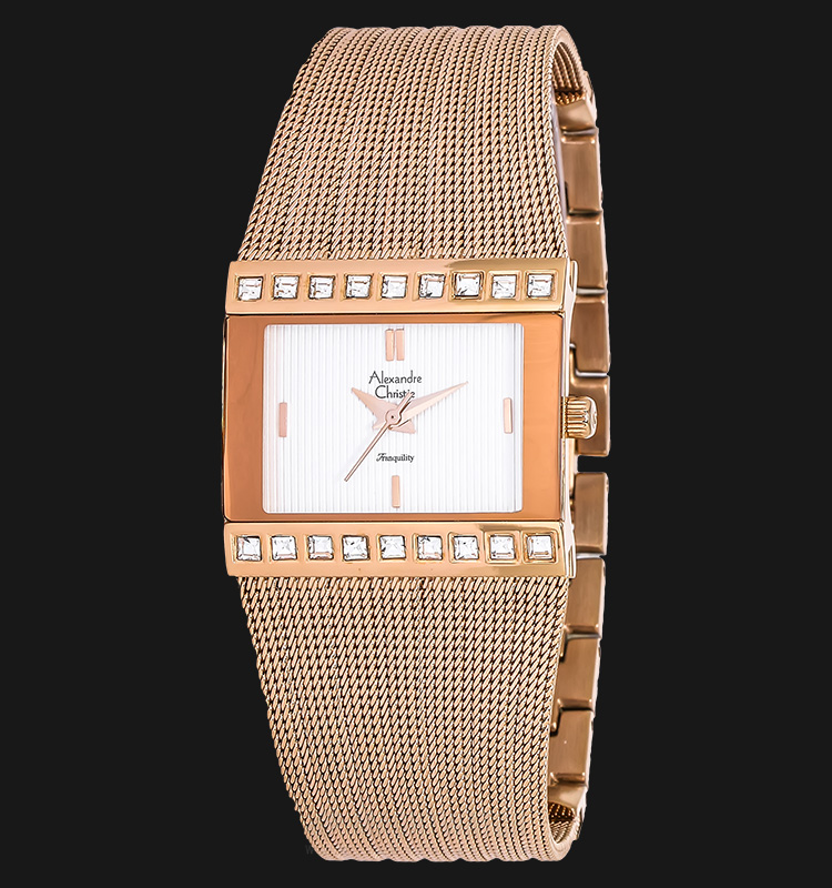 Alexandre Christie AC 2561 LH BRGSL Ladies Transquility White Dial Rosegold-tone Stainless Steel Machtwatch