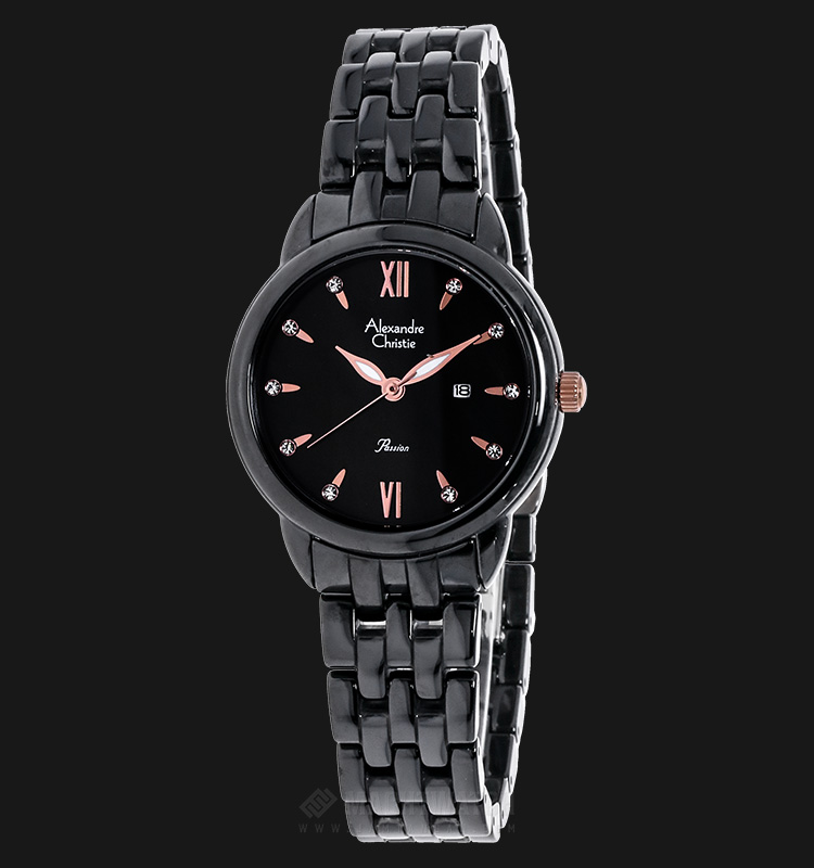 Alexandre Christie AC 2566 LD BRGMA Passion Ceramic Black Dial Stainless Steel Machtwatch