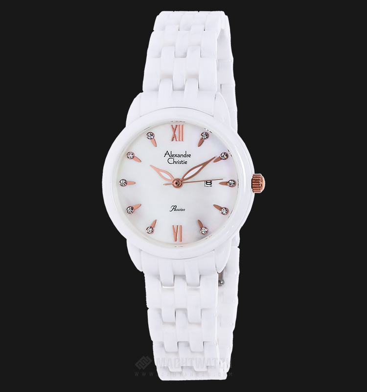 Alexandre Christie AC 2566 LD BRGMS Passion Ceramic White Dial Stainless Steel Machtwatch