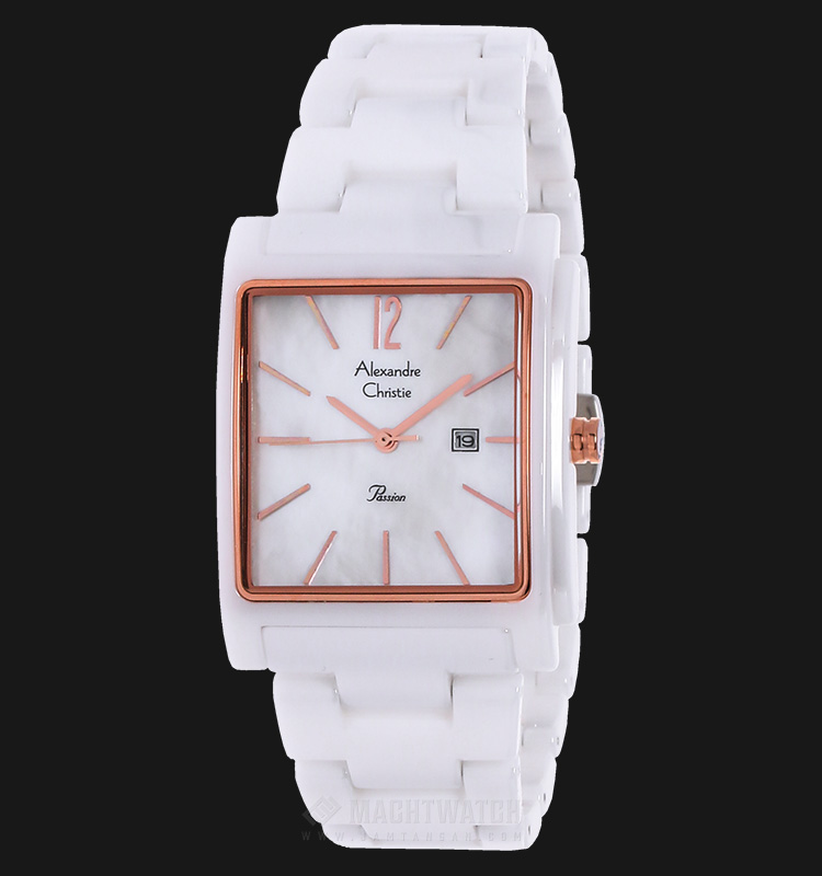 Alexandre Christie AC 2613 LD BRGSL Passion Ceramic White Dial Stainless Steel Machtwatch