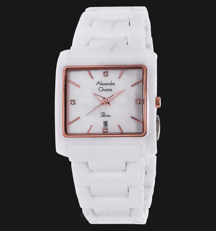 Alexandre Christie AC 2615 LD BRGSL Passion Ceramic White Dial Stainless Steel Machtwatch