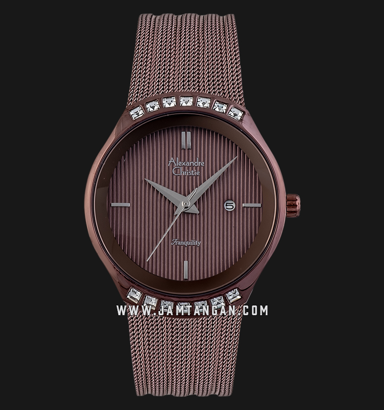 Alexandre Christie AC 2668 LD BBNBO Tranquility Ladies Brown Dial Brown Mesh Strap Machtwatch