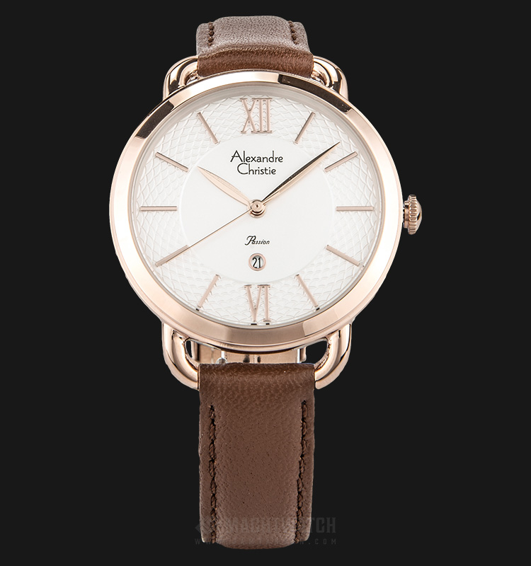 Alexandre Christie AC 2674 LD LRGSLBO Ladies White Pattern Dial Brown Leather Strap + Extra Strap Machtwatch