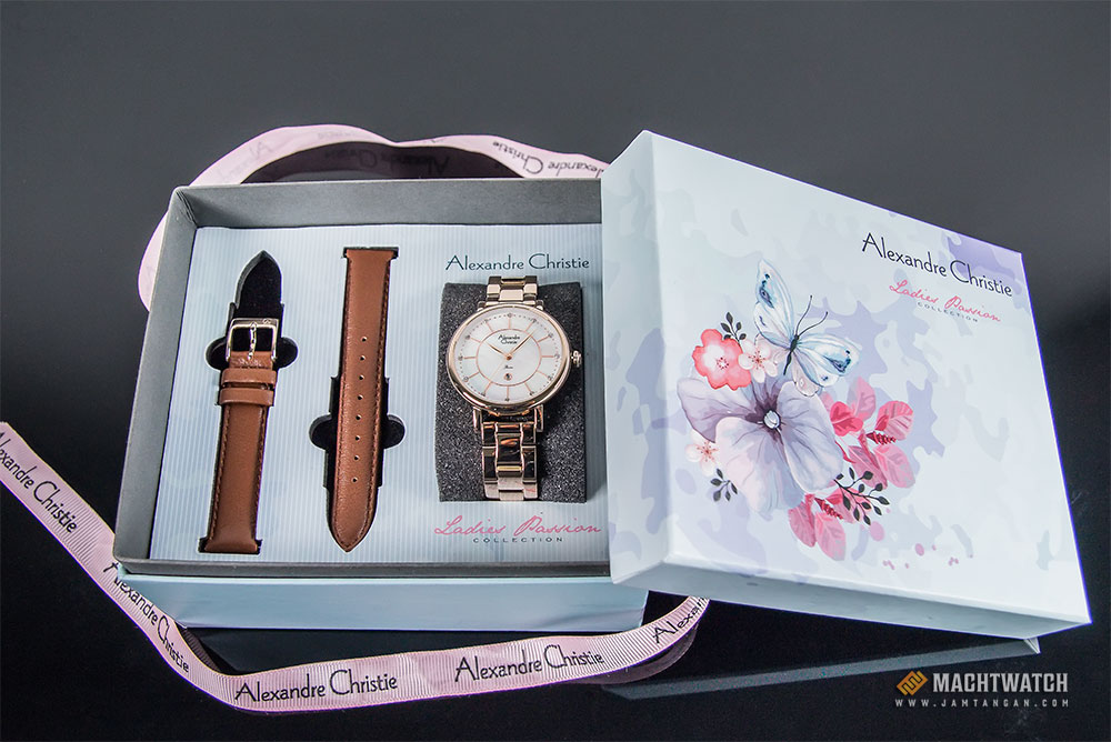 Alexandre Christie AC 2675 LD BCGMS Ladies Mother of Pearl Dial Light Gold Stainless Steel Machtwatch