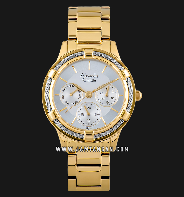 Alexandre Christie AC 2730 BF BGPSL Ladies Silver Dial Gold Stainless Steel Strap Machtwatch