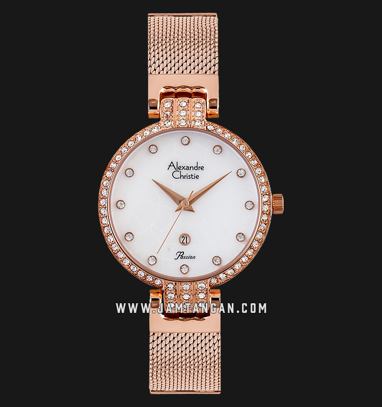 Alexandre Christie AC 2753 LD BRGMS White Dial Rose Gold Stainless Steel Strap Machtwatch