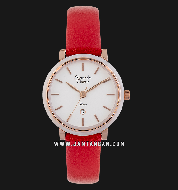 Alexandre Christie AC 2759 LD LRGSL Ladies White Dial Red Leather Strap Machtwatch