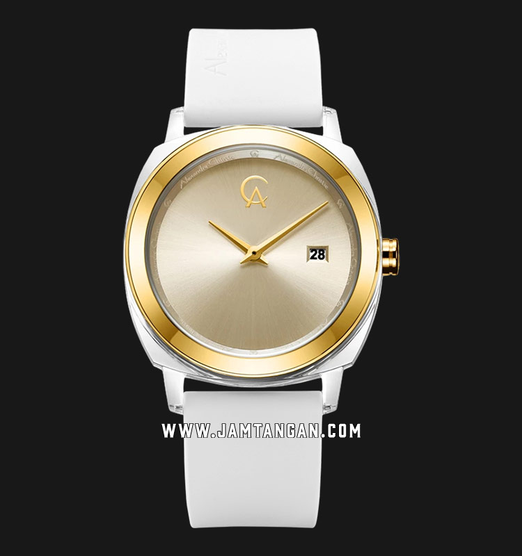 Alexandre Christie AC 2763 LD RGPIV Ladies Gold Sunray Dial White Rubber Strap Machtwatch