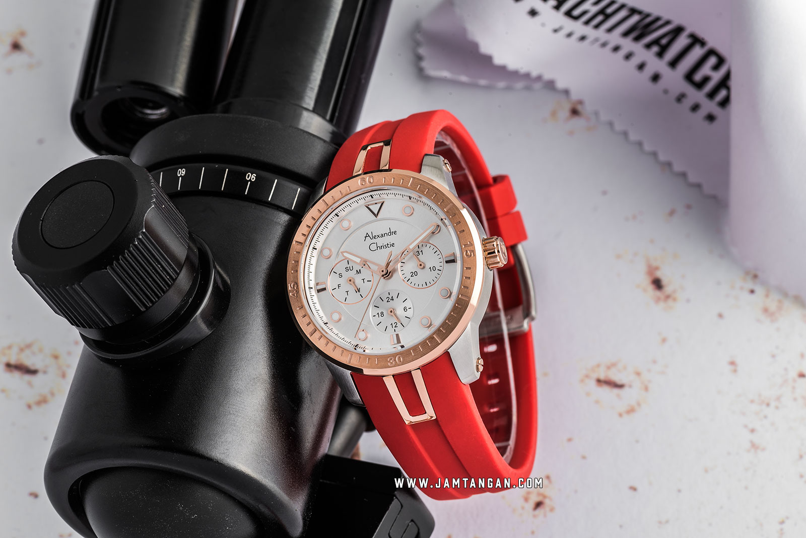 Alexandre Christie AC 2772 BF RTRSL Ladies Silver Dial Red Resin Strap Machtwatch