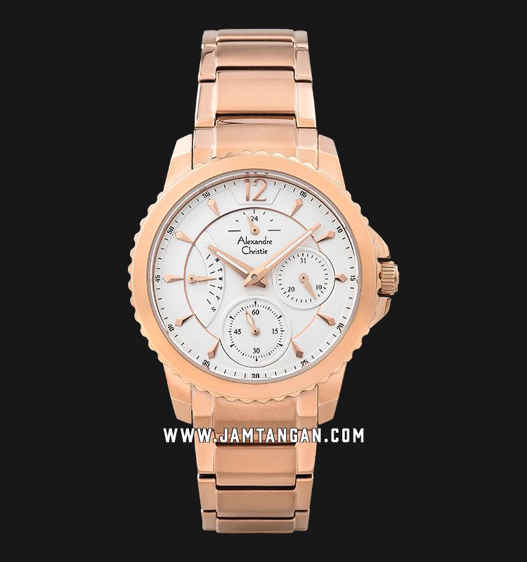 Alexandre Christie AC 2804 BF BRGSL Silver Dial Rose Gold Stainless Steel Strap Machtwatch