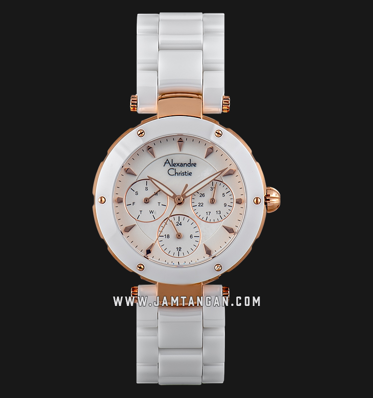 Alexandre Christie AC 2807 BF BRGSL Ladies Mother of Pearl Dial White Stainless Steel Machtwatch