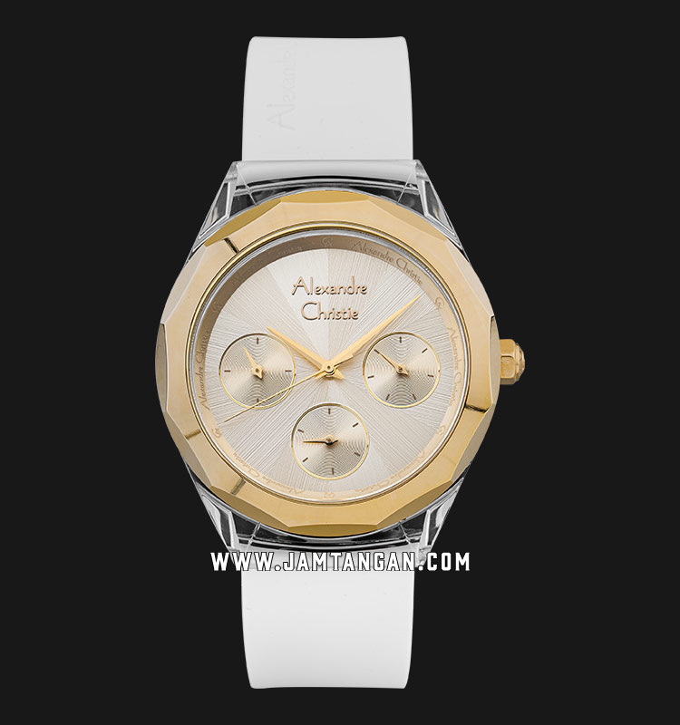 Alexandre Christie AC 2808 BF RGPIV Ladies Gold Dial White Rubber Strap Machtwatch