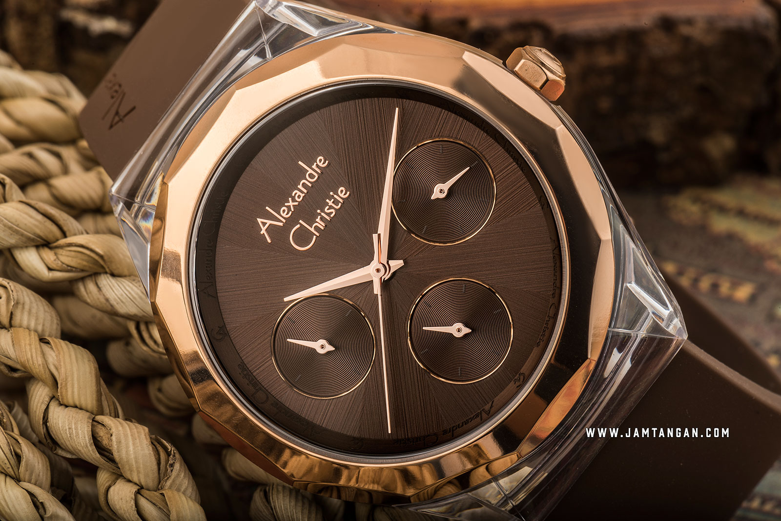 Alexandre Christie AC 2808 BF RRGBO Ladies Brown Dial Brown Rubber Strap Machtwatch