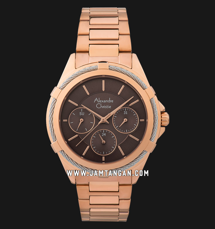 Alexandre Christie AC 2841 BF BRGBO Ladies Brown Dial Rose Gold Stainless Steel Strap Machtwatch