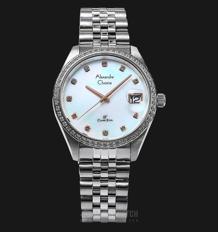 Alexandre Christie AC 5008 MD BSSMS Man Mother of Pearl Dial Stainless Steel Machtwatch
