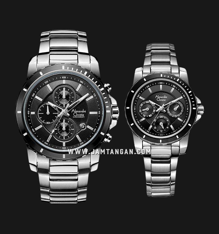 Alexandre Christie AC 6141 BTBBA Couple Black Dial Stainless Steel Strap Machtwatch