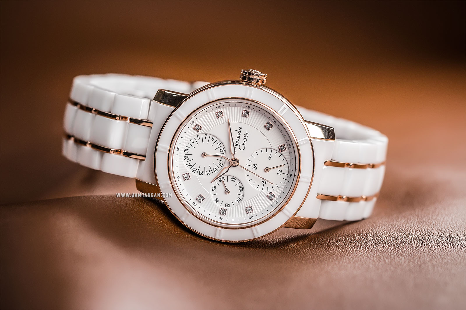 Alexandre Christie AC 6292 BF BRGSL Ladies White Dial Dual Tone Stainless Steel With Ceramic Strap Machtwatch