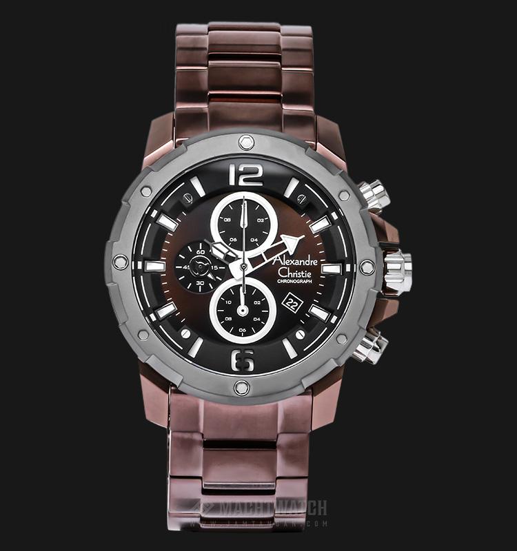 Alexandre Christie AC 6410 MC BBWBO Men Chronograph Black Dial Stainless Steel Machtwatch