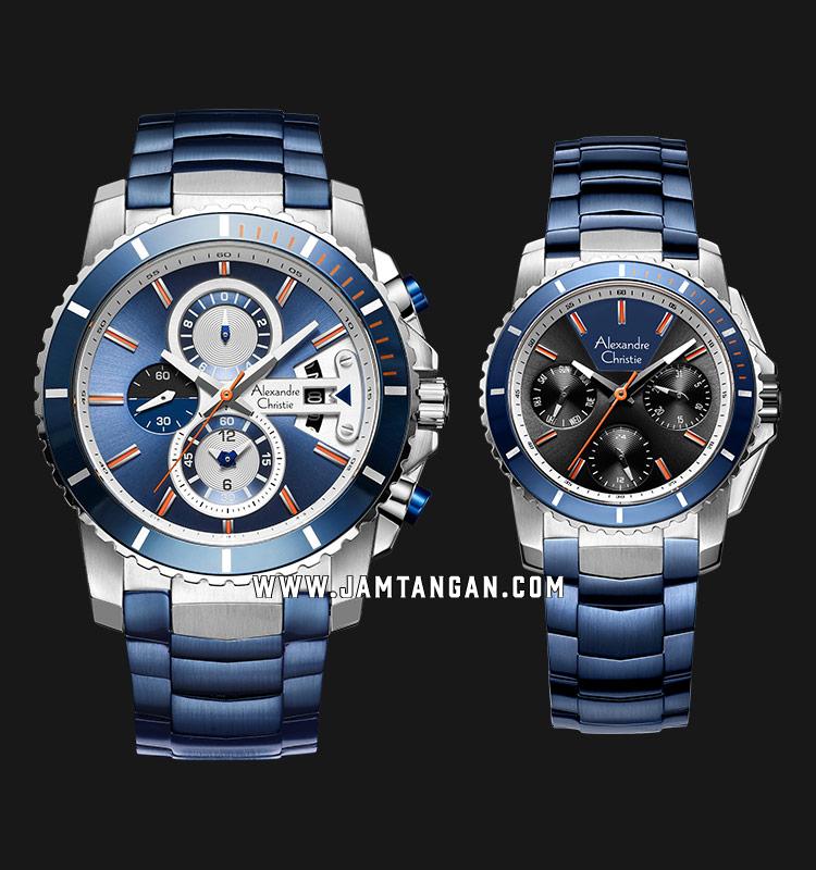 Alexandre Christie AC 6455 BTUBU Couple Blue Sunray Dial Blue Stainless Steel Strap Machtwatch
